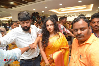 Actress Nithya Menen Pictures in Silk Saree at Kalamandir 25th Store Launch  0023