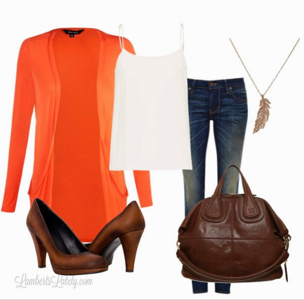 Orange Boyfriend Cardigan, Dark Jeans - Fall Fashion