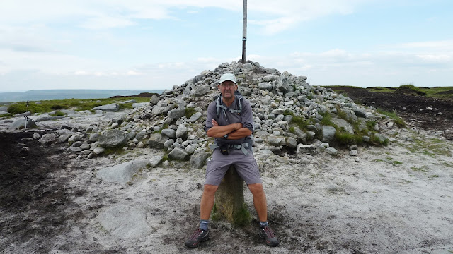 resting on bleaklow head while hiking the pennine way 2015