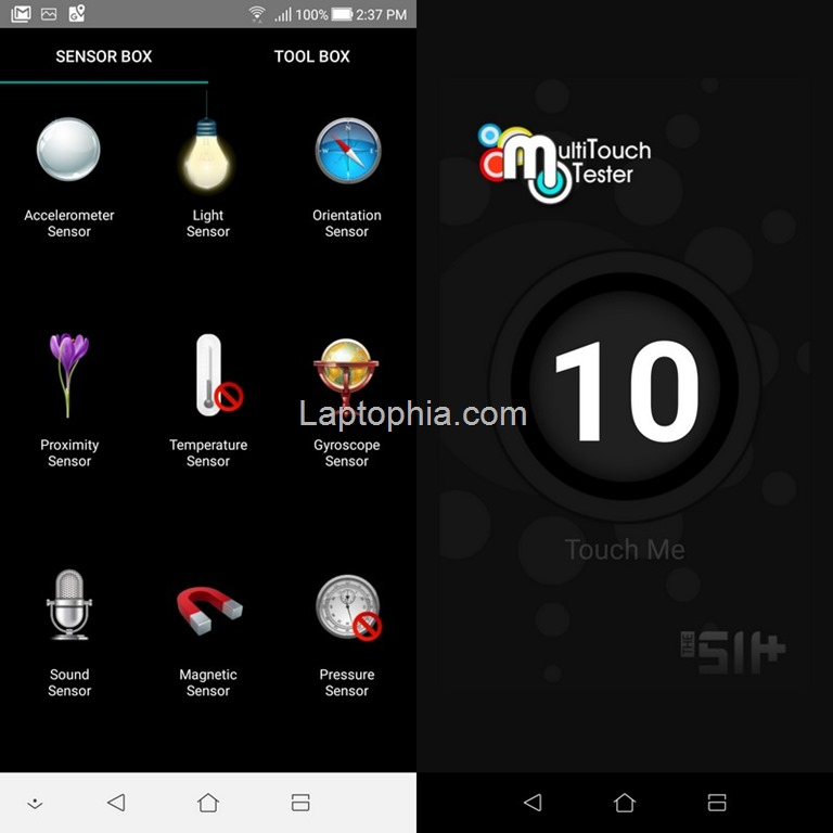Sensorbox for Android dan Multitouch Tester Asus Zenfone 5Q