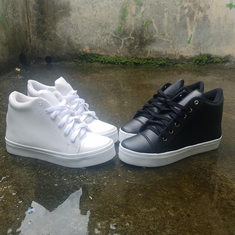 Sneakers Wanita Hak Tinggi 5cm / Sepatu Sneaker Cewek Hitam Putih3