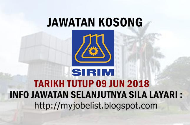Jawatan Kosong Terkini di SIRIM Berhad Jun 2018