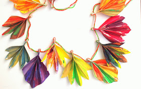 Easy and beautiful painted accordion folded fall paper leaf banner -Great craft to make with kids of all ages!