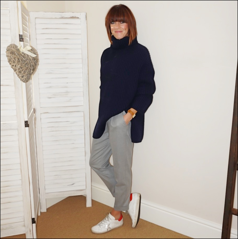 my midlife fashion, acne studios ribbed knit roll neck wool sweater, mango loose fit cropped turn up trousers, golden goose superstar low top leather trainers
