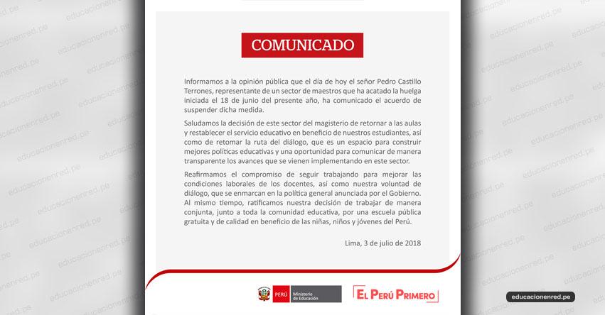 COMUNICADO MINEDU: Pedro Castillo Suspende Huelga Nacional Indefinida - www.minedu.gob.pe
