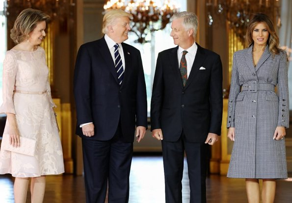King Philippe and Queen Mathilde, President Donald Trump and First Lady Melania Trump attend a reception at the Brussels Royal Palace