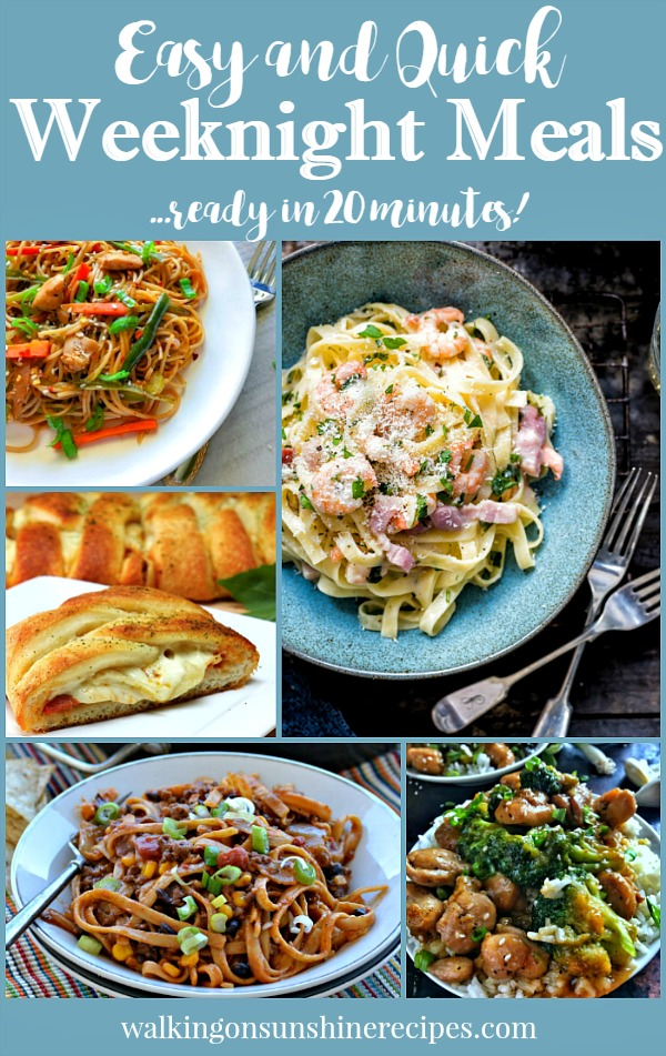 Easy and Quick Weeknight Meals that are ready in under 20 minutes featured on Walking on Sunshine Recipes.
