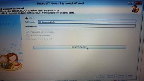 - الآن حذف كلمة المرور  Lazesoft