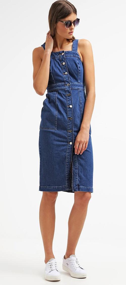 Robe midi d'été en jean bleu Warehouse