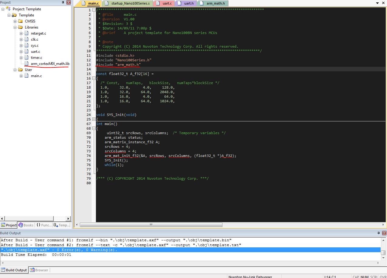 Engineer Ray's Blog: NANO100: Use CMSIS DSP library in NANO100