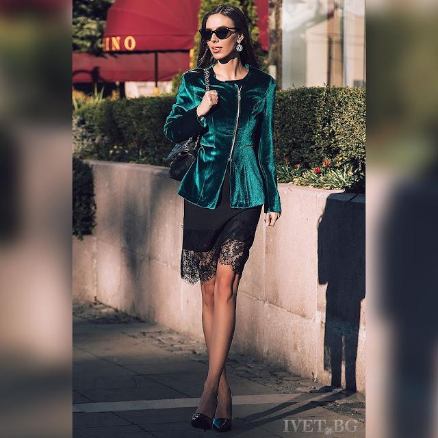 Μακρυμάνικο γυναικείο πράσινο σακάκι DORINDA GREEN