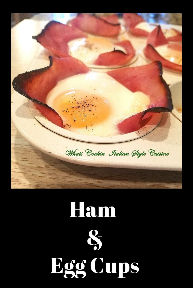 this is sliced deli ham using it as the base for a cupcake quiche .There is a baked eggs in the center of the ham and baked for an all in one breakfast brunch