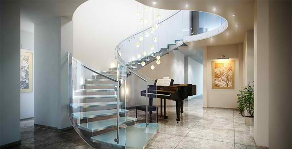 digunakan untuk menghubungkan antar lantai di sebuah rumah atau bangunan Inspirasi Desain Tangga Rumah Mewah
