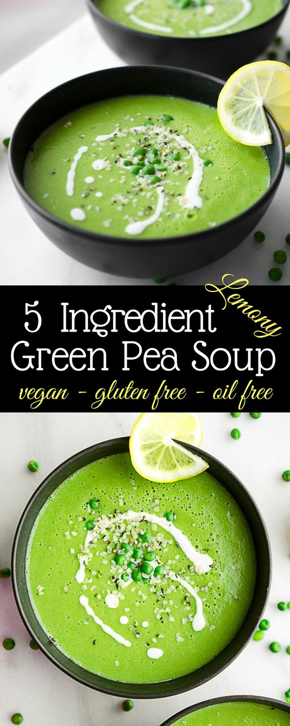 5 Ingredient Healthy Vegan Green Pea Soup
