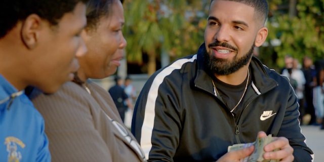 Watch as Drake gives away a million dollars in new video 'God's Plan'