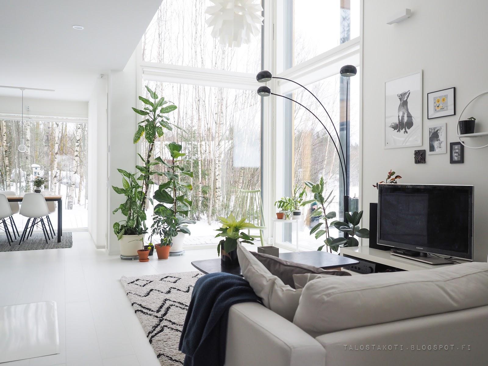 Olohuone, sisustus, valkoinen lattia