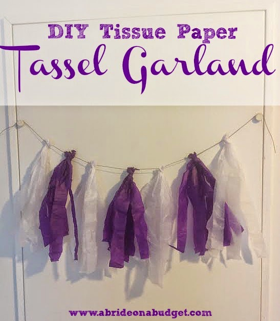 Make a tissue paper tassel garland in minutes without gluing with this tutorial from www.abrideonabudget.com.