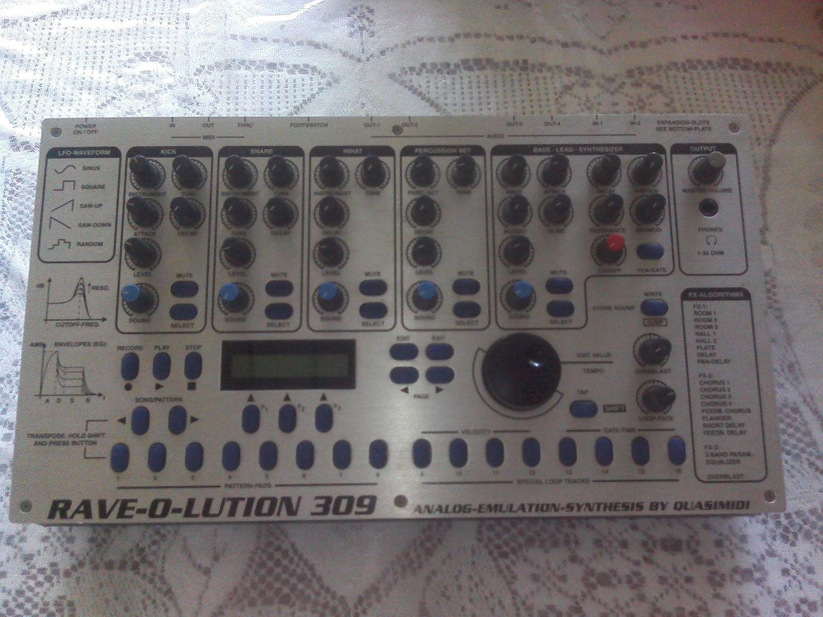 matrixsynth quasimidi rave o lution 309 analog emulation synthesiser drum machine groovebox. Black Bedroom Furniture Sets. Home Design Ideas