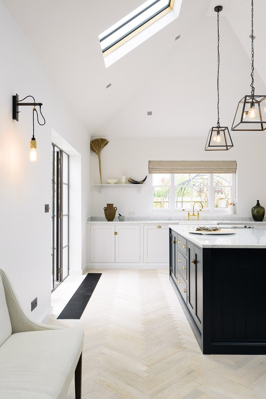 Lofty Modern Farmhouse Kitchen With Shaker Cabinets  Skylights Decor Inspiration  Hello Lovely