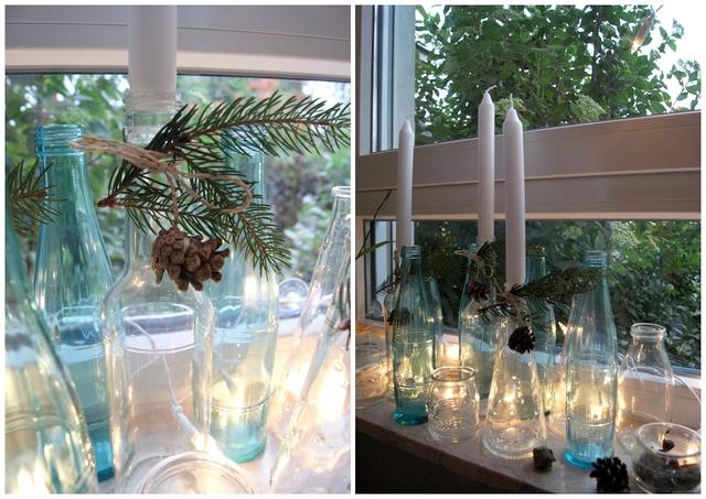 DIY Adventsdekoration Flaschen als Kerzenhalter weihnachtlich dekoriert