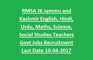 RMSA JK Jammu and Kashmir English, Hindi, Urdu, Maths, Science, Social Studies Teachers Govt Jobs Recruitment Last Date 10-04-2017