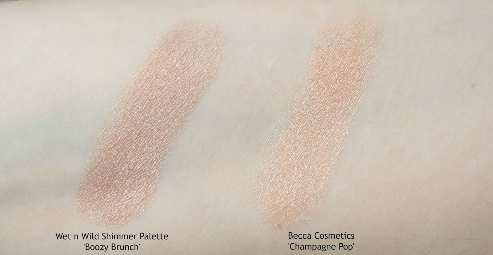 wet n wild boozy brinch becca shimmering skin perfector pressed champagne pop dupe comparison swatch