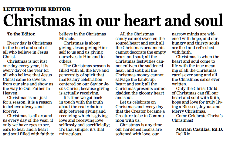 december 27 2016 del rio news herald opinion letter to the editor christmas in our heart and soul
