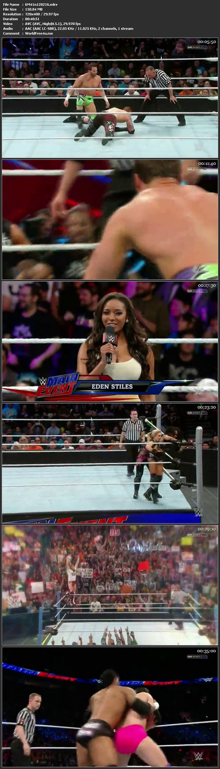 Screen Shot Of WWE Main Event Full Show Download 12th February 2016 HDTV 480P