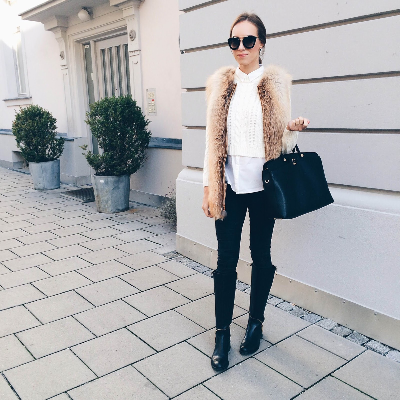 kristjaana mere cropped sweater white shirt fox fur vest black jeans classic winter outfit