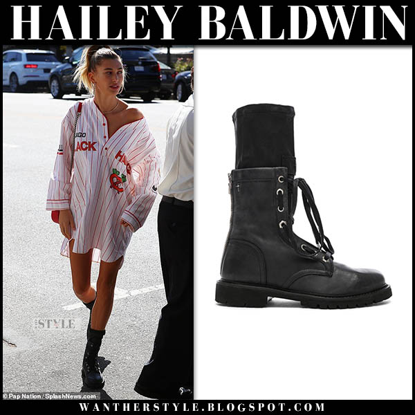 Hailey Baldwin in white striped shirt and black combat rta boots model street style october 12