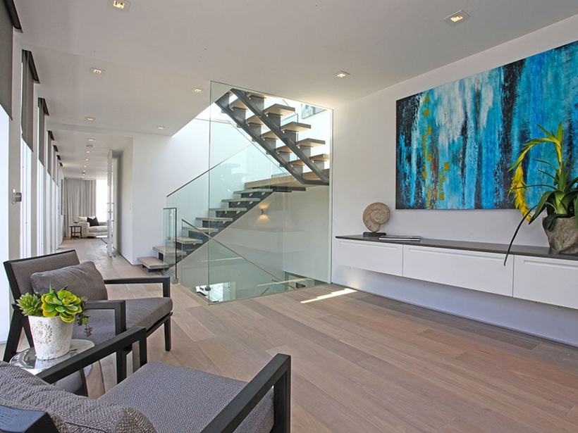 Hallway in Sharp modern home on Sunset Strip