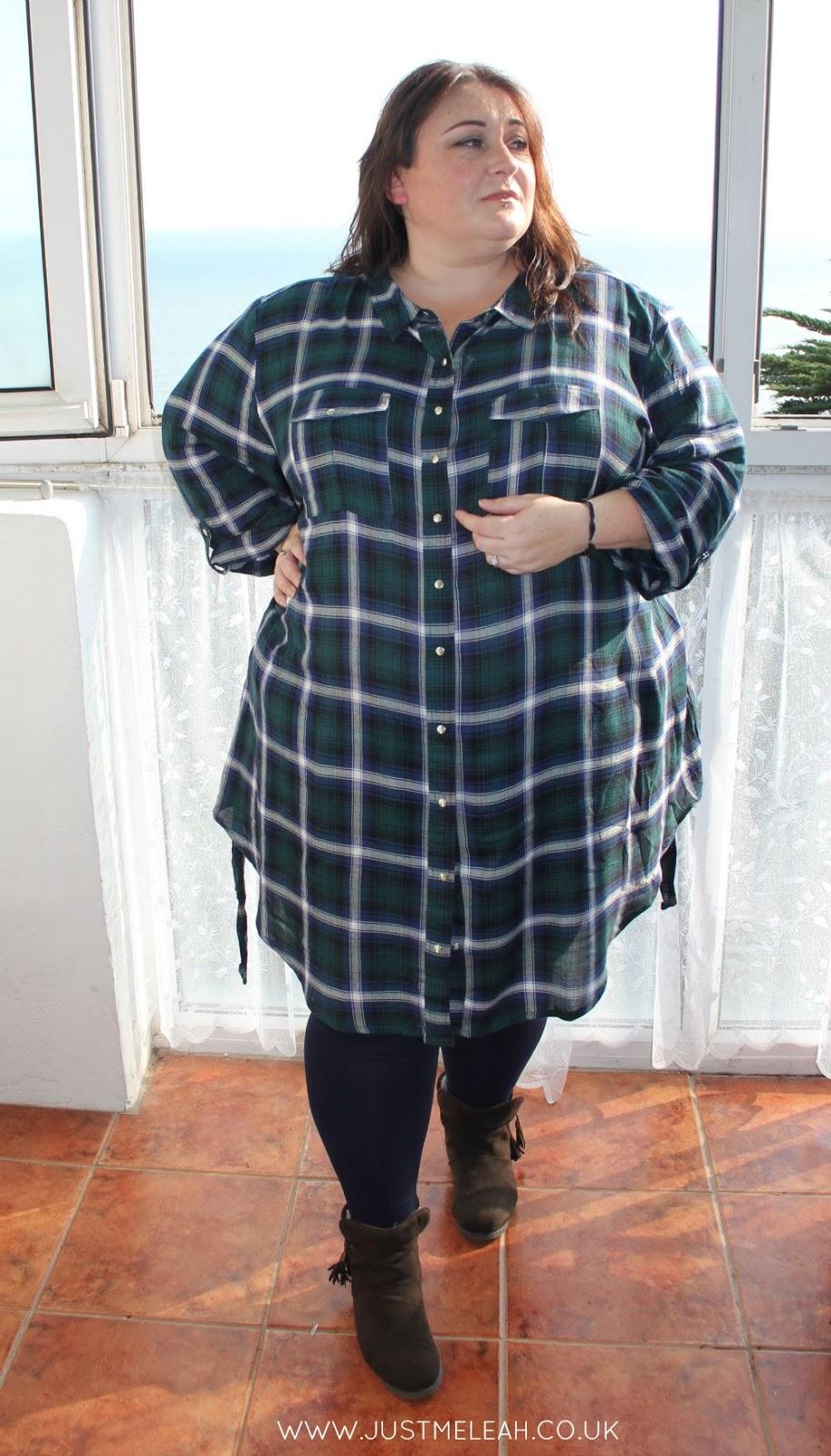 Plus size checked shirt dress plaid flannel checks