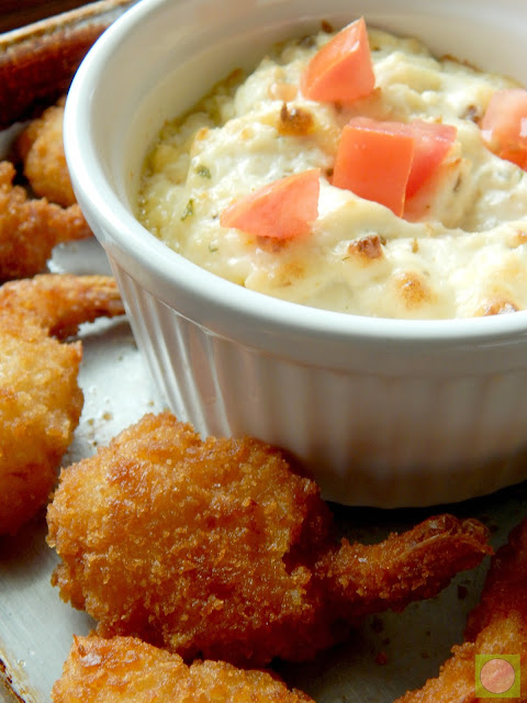 baked cheesy chipotle dip with jumbo shrimp dippers (sweetandsavoryfood.com)