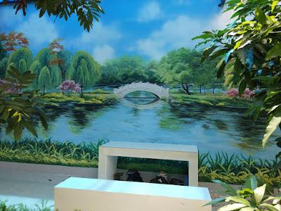 mural lukis dinding pemandangan area taman