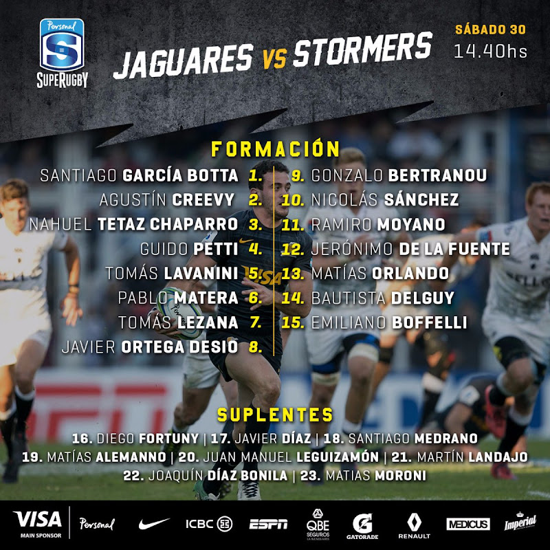 Formación de Jaguares ante Stormers. Diego Fortuny será suplente.