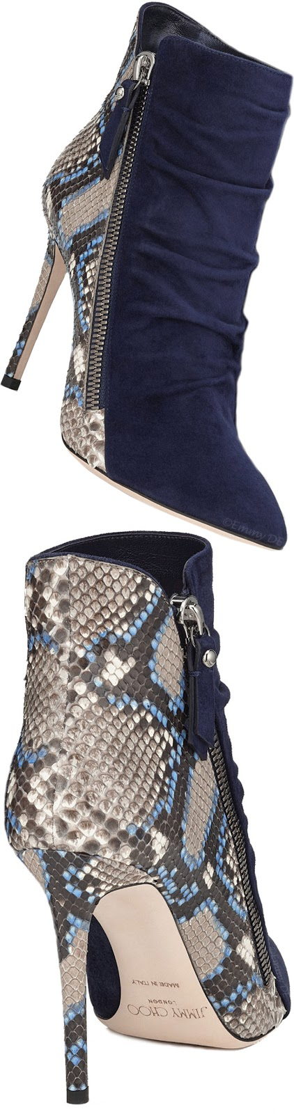Brilliant Luxury ♦ Jimmy Choo Dayton Navy Suede And Violet Blue Painted Python Ankle Bootie