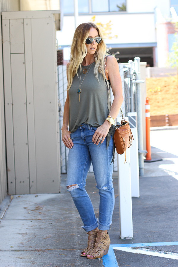 came green sleeveless fringe top