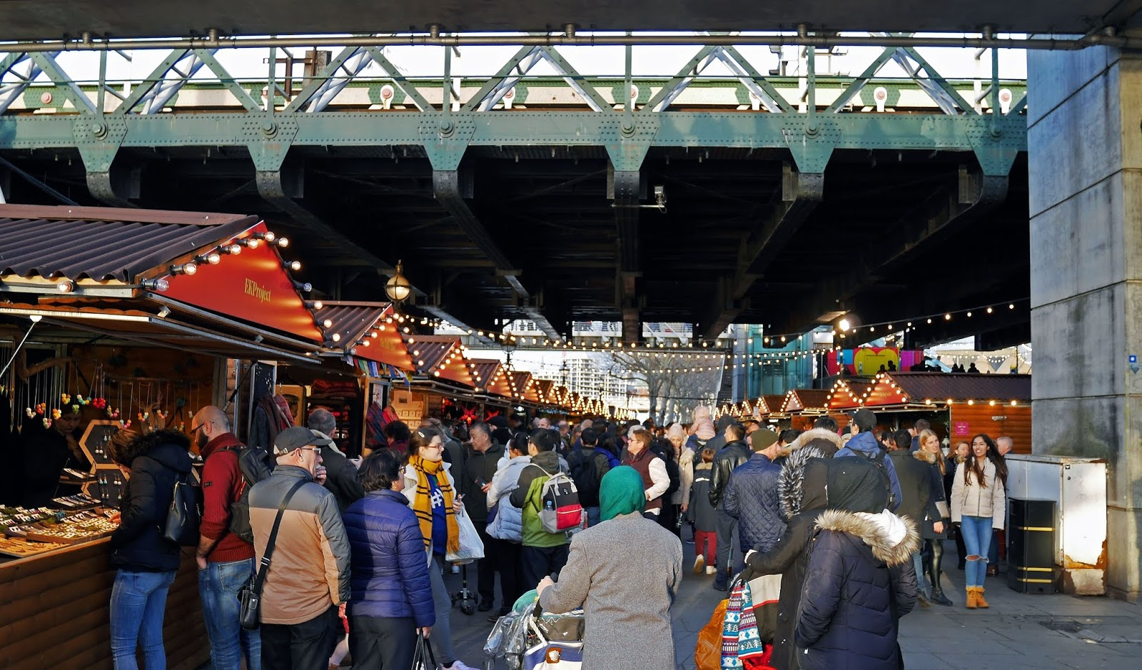 Stalls at the Southbank Centre Winter Market, London
