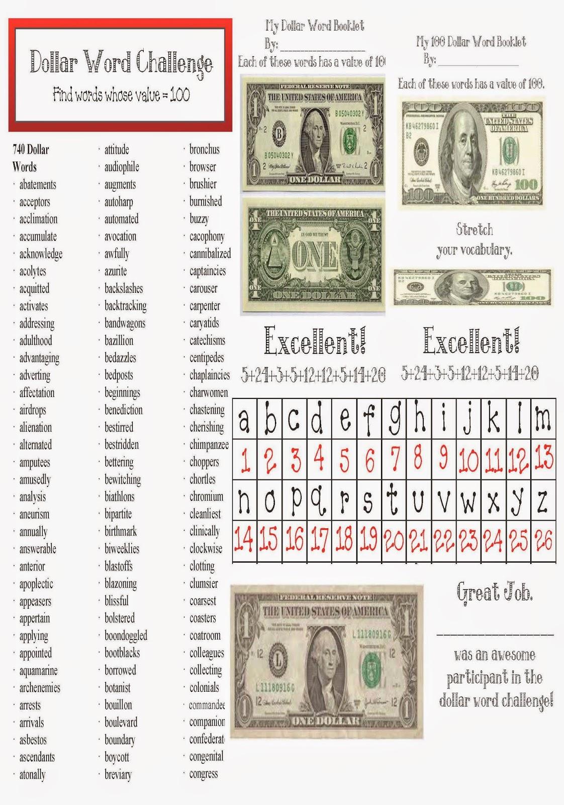 Classroom Freebies Dollar Words Packet