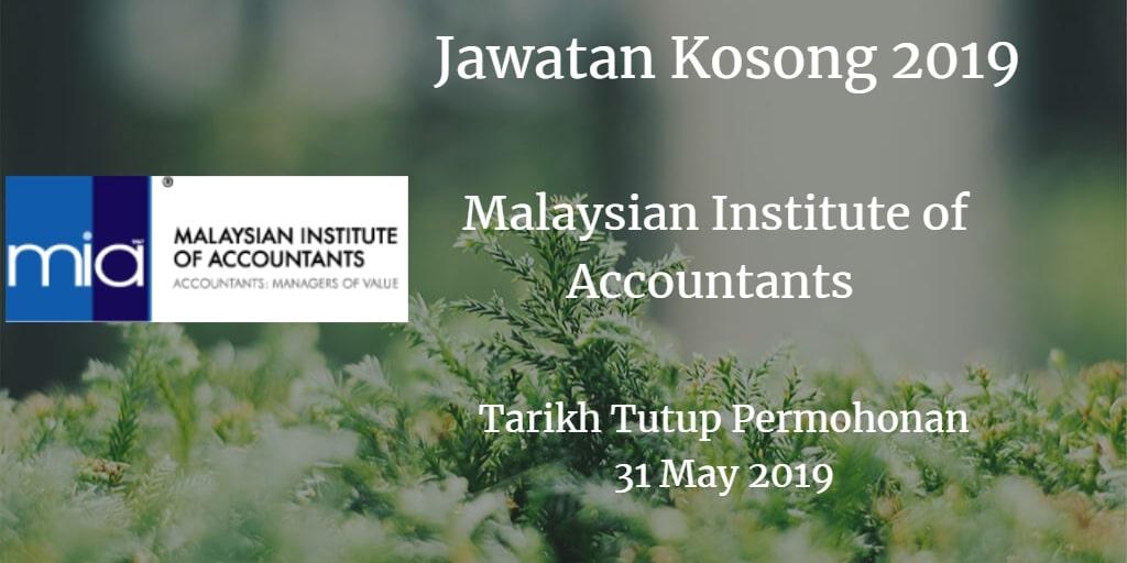 Jawatan Kosong MIA 31 May 2019
