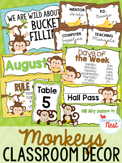 Monkey Themed- Classroom Decor Collection to transform your classroom- pick a scheme or a theme to make your classroom decorated and organized