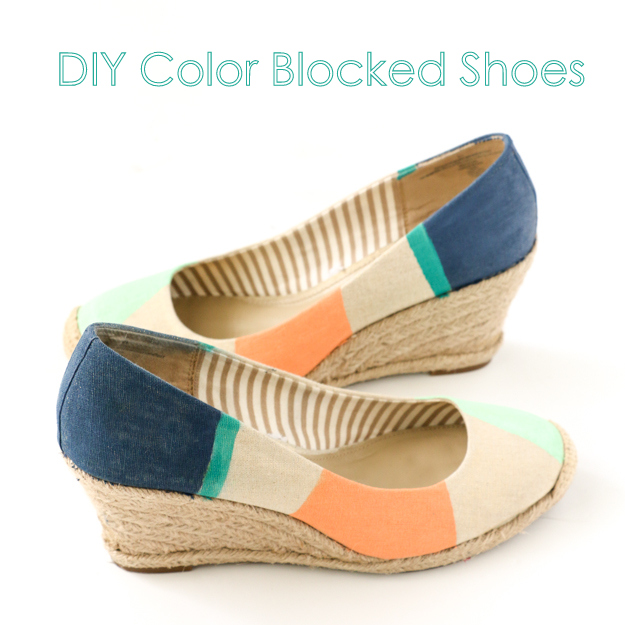 DIY Your own color blocked shoes with this easy tutorial. Acrylic Craft paint is all you need to upcycle your old plain wedges into a new fun colorful accessory perfect for summer. Quick Craft Idea - Summer Craft