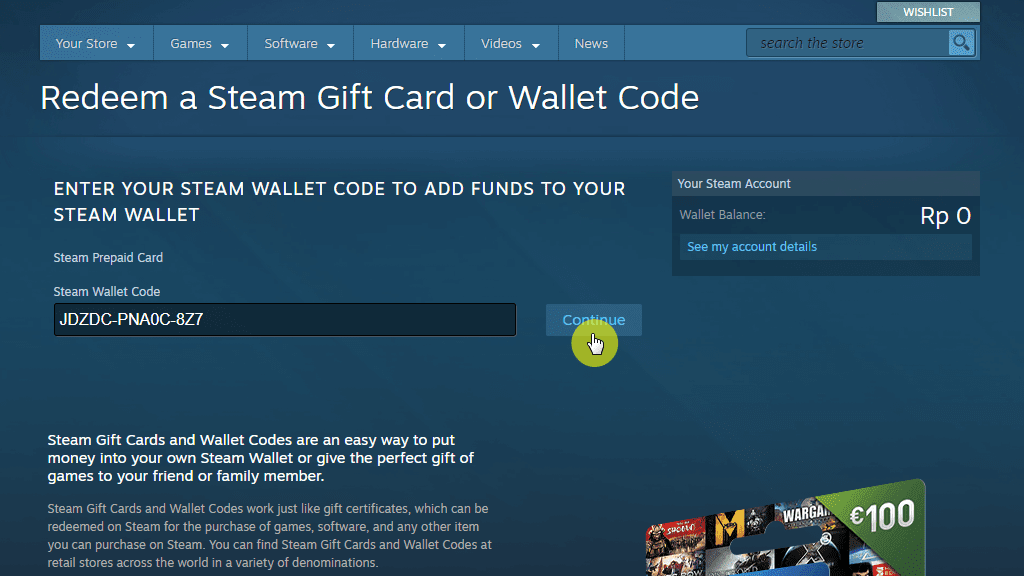 redeem Steam Wallet