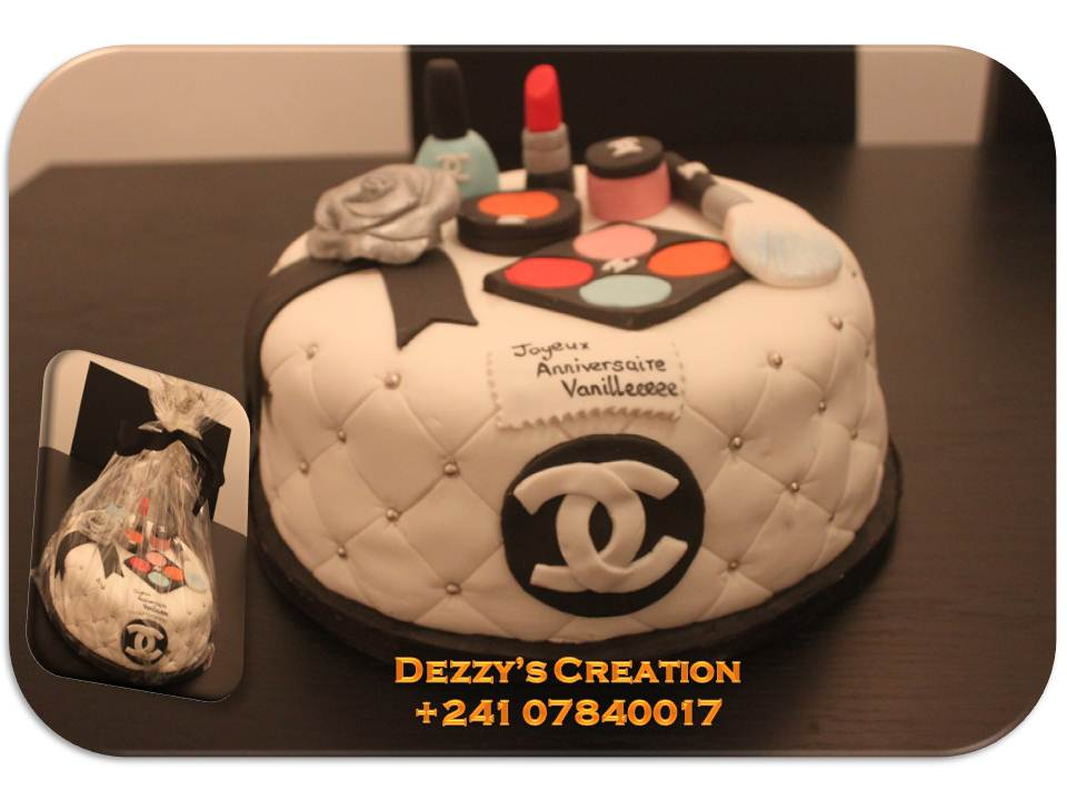 Dezzy's Creation: CHANNEL INSPIRED CAKE WITH MAKEUP TOPPER