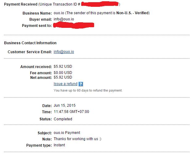 Bằng chứng thanh toán từ Ouo.io