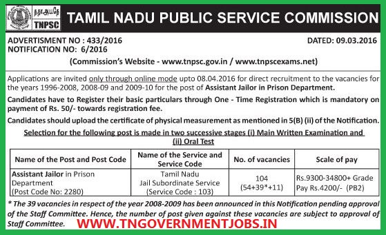 ONLINE applications are invited for Assistant Jailor Post in Tamil Nadu Jail  Subordinate Service 1996-2008; 2008-09 ; 2009-10 Posts through TNPSC