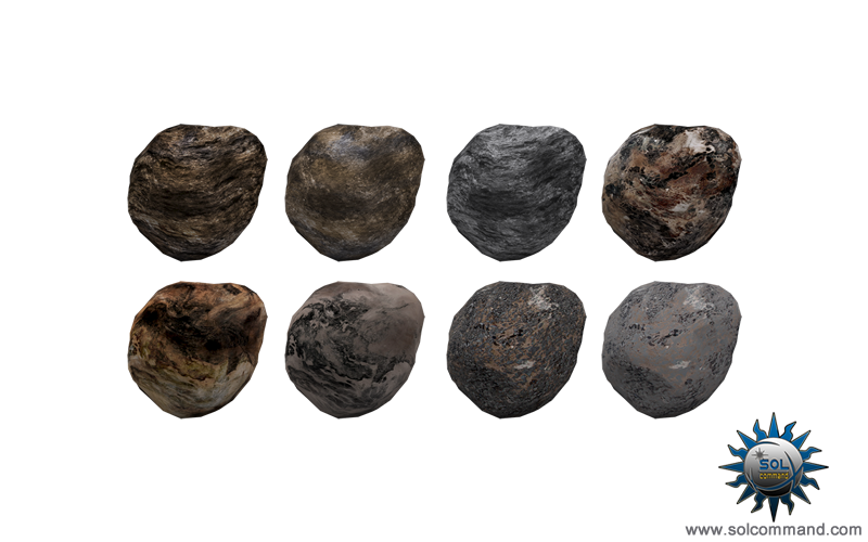 Asteroid free download 3d models textured uv unwrapped game ready low polygon count 30 meshes 15 various textures solcommand