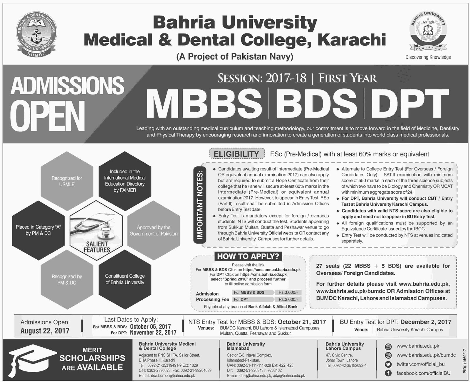 Admissions Open in Bahria University Medical and Dental College Karachi - 2017