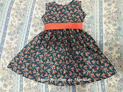 Vestido infantil estampado tamanho 2 anos
