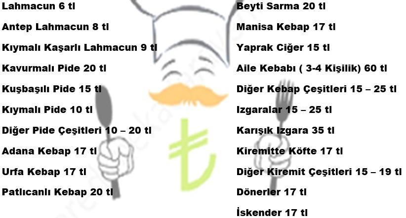 damak pide ve kebap menü fiyatlar